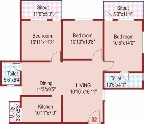 SLS Splendor (3BHK+2T (1,244 sq ft) Apartment 1244 sq ft)