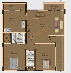 Vmaks Chalet (2BHK+2T (1,162 sq ft) Apartment 1162 sq ft)