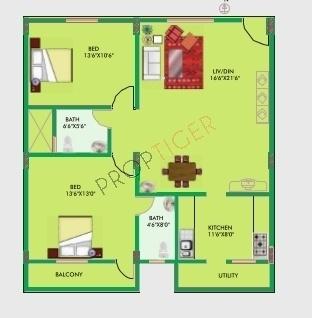 Vmaks Chalet (2BHK+2T (1,261 sq ft) Apartment 1261 sq ft)