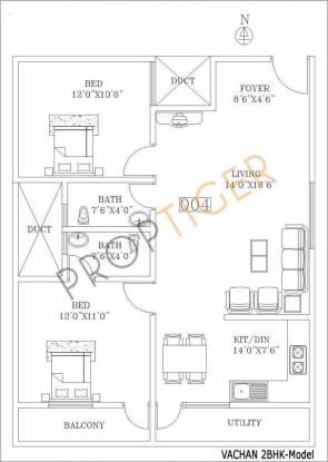Vmaks Vachan (2BHK+2T (1,040 sq ft) Apartment 1040 sq ft)