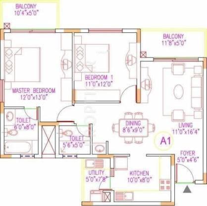 Shriram Sahaana (2BHK+2T (1,208 sq ft) Apartment 1208 sq ft)