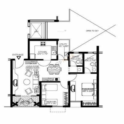 Shriram Surabhi (2BHK+2T (905 sq ft) Apartment 905 sq ft)