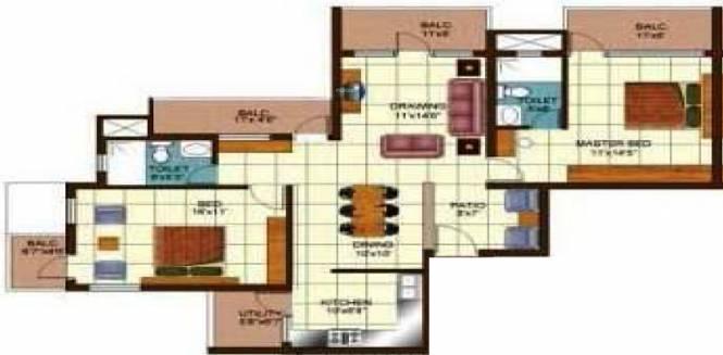 Golden Golden Palms (2BHK+2T (1,615 sq ft) Apartment 1615 sq ft)
