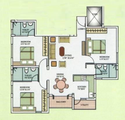 Aarya Aarya Orchid (3BHK+3T (1,375 sq ft) Apartment 1375 sq ft)
