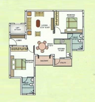 Aarya Aarya Orchid (2BHK+2T (1,100 sq ft) Apartment 1100 sq ft)