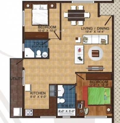 Linea Linea Lily (2BHK+2T (1,100 sq ft) Apartment 1100 sq ft)