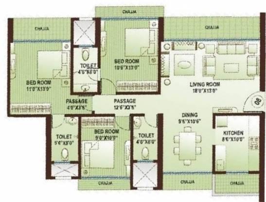 Kamla Atlantis (2BHK+2T (1,500 sq ft) + Study Room Apartment 1500 sq ft)