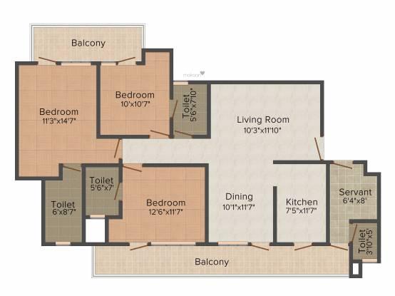 CHD Avenue 71 (3BHK+3T (1,762 sq ft) + Servant Room Apartment 1762 sq ft)