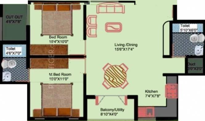 DS DSMAX SUPREME (2BHK+2T (940 sq ft) Apartment 940 sq ft)