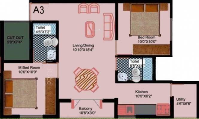 DS DSMAX SUPREME (2BHK+2T (920 sq ft) Apartment 920 sq ft)