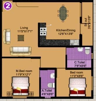 DS DSMAX SAAGA (2BHK+2T (1,100 sq ft) Apartment 1100 sq ft)
