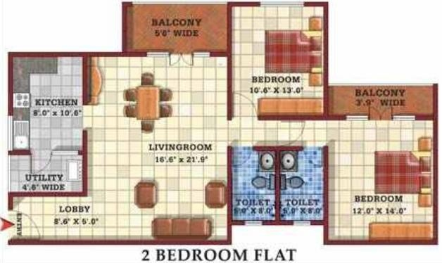 Gopalan Casa Gopalan (2BHK+2T (1,300 sq ft) Apartment 1300 sq ft)