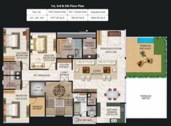 Pristine Luxor (4BHK+4T (2,640 sq ft) + Servant Room Apartment 2640 sq ft)