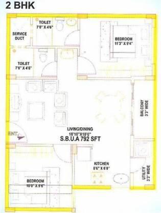 Aryan Aryan Orchid (2BHK+2T (792 sq ft) Apartment 792 sq ft)