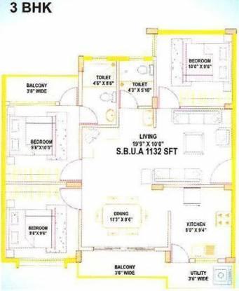 Aryan Aryan Orchid (3BHK+2T (1,132 sq ft) Apartment 1132 sq ft)