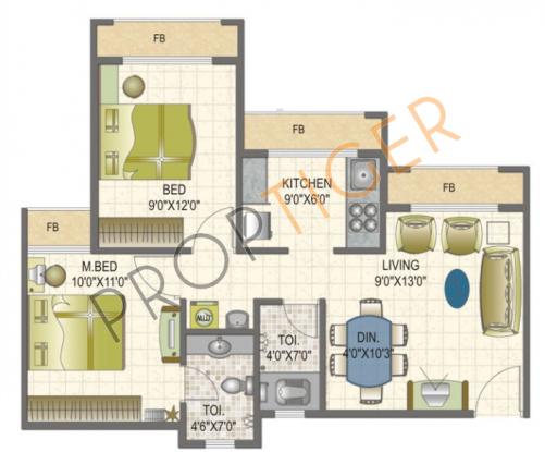 Arihant Arham (2BHK+2T (875 sq ft) Apartment 875 sq ft)