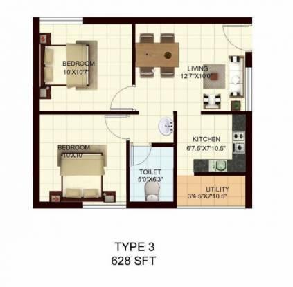 Marg Utsav (2BHK+1T (628 sq ft) Apartment 628 sq ft)