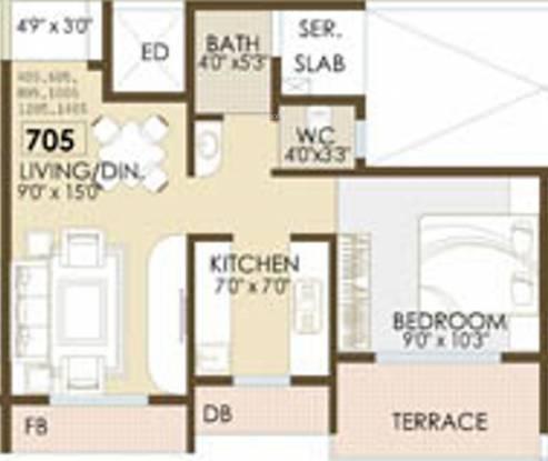 Shankheshwar Exotica (1BHK+1T (705 sq ft) Apartment 705 sq ft)