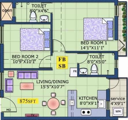 Vasavi Thazham (2BHK+2T (875 sq ft) Apartment 875 sq ft)