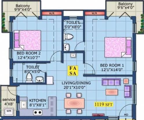 Vasavi Thazham (2BHK+2T (1,119 sq ft) Apartment 1119 sq ft)