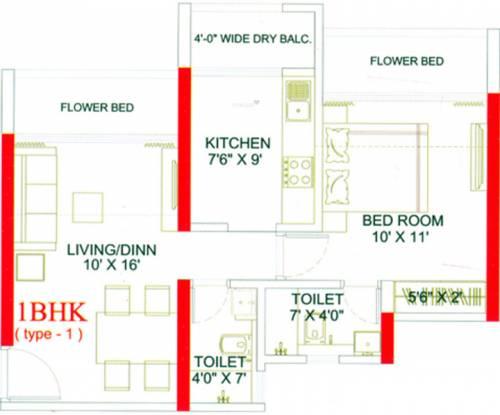 Evershine Meadows (1BHK+2T (711 sq ft) Apartment 711 sq ft)