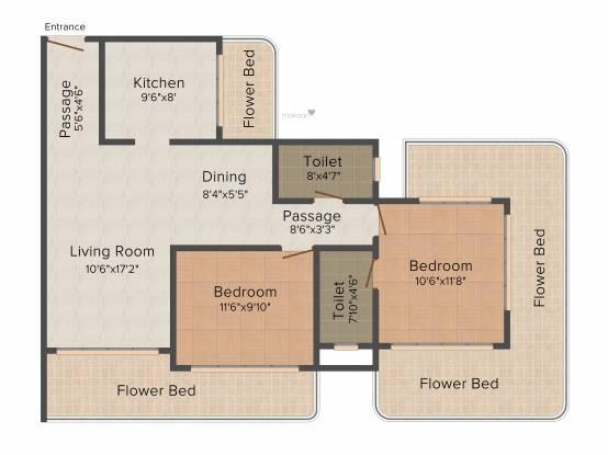 Neumec Overture (2BHK+2T (1,600 sq ft) Apartment 1600 sq ft)