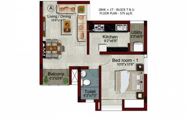 S And P Living Spaces (1BHK+1T (575 sq ft) Apartment 575 sq ft)