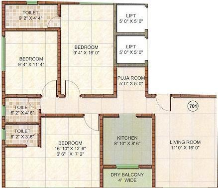 Kiron Athashri (3BHK+3T (1,285 sq ft)   Pooja Room Apartment 1285 sq ft)