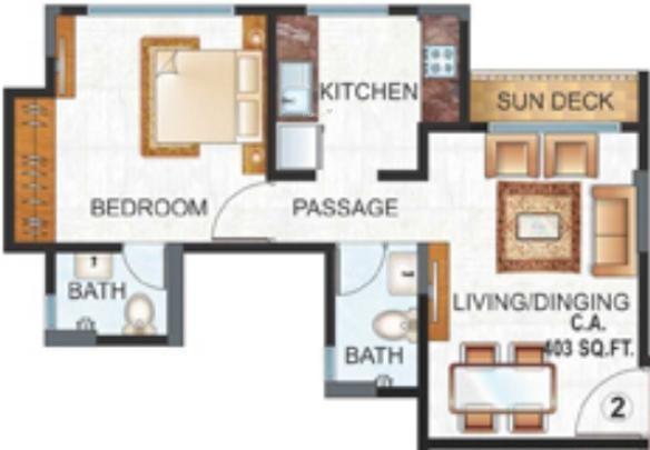 Raunak Unnathi Woods (1BHK+2T (625 sq ft) Apartment 625 sq ft)