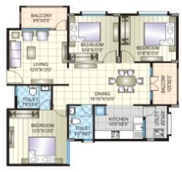 Prime Jade (3BHK+2T (1,380 sq ft) Apartment 1380 sq ft)