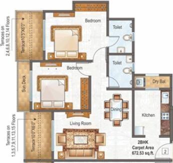Raunak Paradise (2BHK+2T (995 sq ft) Apartment 995 sq ft)