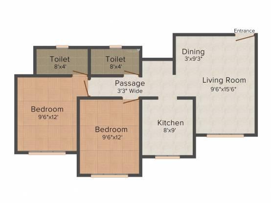 Agarwal Meadows (2BHK+2T (1,025 sq ft)   Pooja Room Apartment 1025 sq ft)