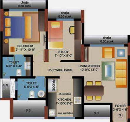 Mayfair Mira Pride (2BHK+2T (860 sq ft) Apartment 860 sq ft)