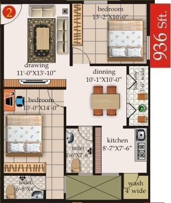 Mahaghar Sai Srinivasa Enclave (2BHK+2T (936 sq ft) Apartment 936 sq ft)