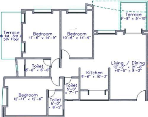 Nirmiti Nirmity Gracia (3BHK+3T (1,518 sq ft) Apartment 1518 sq ft)