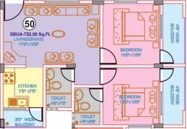 Nisarga Gateway (2BHK+2T (752 sq ft) Apartment 752 sq ft)