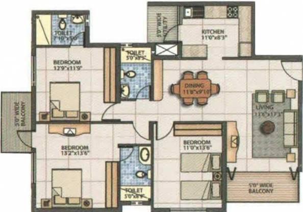 Emmanuel Vista (3BHK+3T (1,585 sq ft) Apartment 1585 sq ft)