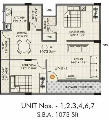 Passion Passion Elite (2BHK+2T (1,073 sq ft) Apartment 1073 sq ft)
