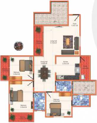 MJ Lifestyle Astyllen (3BHK+3T (1,580 sq ft) Apartment 1580 sq ft)