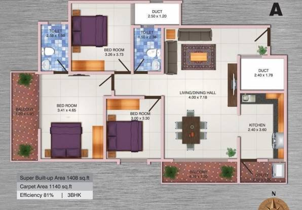 MJ Lifestyle Aldila (3BHK+2T (1,408 sq ft) Apartment 1408 sq ft)