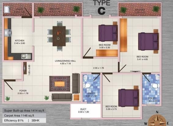 MJ Lifestyle Aldila (3BHK+2T (1,414 sq ft) Apartment 1414 sq ft)