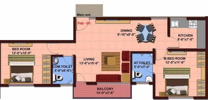 NBR NBR Lake View (2BHK+2T (964 sq ft) Apartment 964 sq ft)