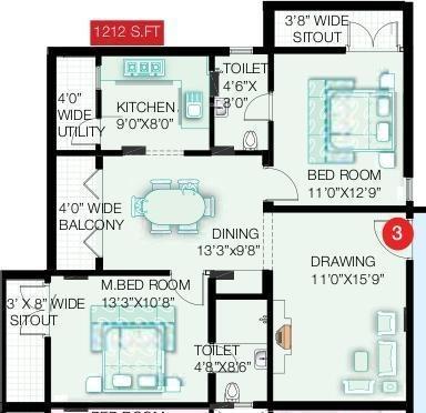 Pavani Oakridge (2BHK+2T (1,212 sq ft) Apartment 1212 sq ft)