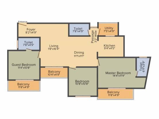 Concorde Manhattans (3BHK+3T (1,585 sq ft) Apartment 1585 sq ft)