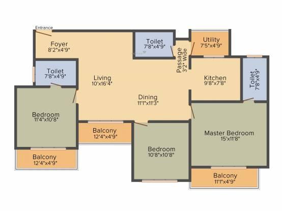 Concorde Manhattans (3BHK+3T (1,566 sq ft) Apartment 1566 sq ft)