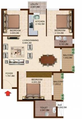 Concorde South Scape (3BHK+2T (1,231 sq ft) Apartment 1231 sq ft)