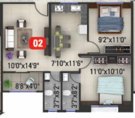 Kumar Millenium (2BHK+2T (750 sq ft) Apartment 750 sq ft)