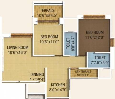 Kumar Piccadilly (2BHK+2T (1,044 sq ft) Apartment 1044 sq ft)