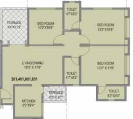 Unique Blliss (3BHK+3T (1,220 sq ft) Apartment 1220 sq ft)