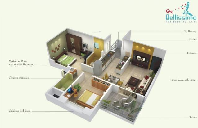 Gini Bellissimo (2BHK+2T (850 sq ft) Apartment 850 sq ft)